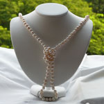 Long Lariat White Pearl Necklace