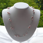 Long Floating Pink Pearl Necklace