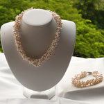 Twisted White Pearl Necklace/Bracelet Set